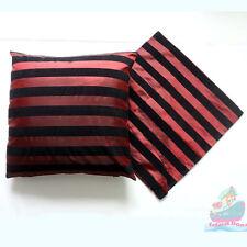 PAIR(2PCS)burgundy black striped Raised Flocked Fashion Satin Cushion Cover