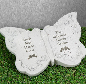 Personalised Stone Butterfly Garden Ornament Gift For Mum, Grandma, Auntie.