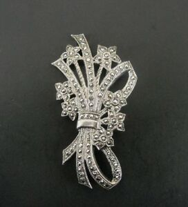 Flower Bouquet with Marcasites Sterling 925 Silver Brooch Pin