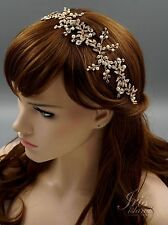 Crystal Pearl Flower Headband Headpiece Tiara Bridal Wedding Accessory 605 Gold