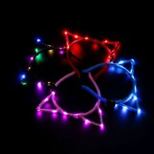 Women Girls LED Flashing Cute Pointed Cat Ears Hair Hoop Glowing Party Headband