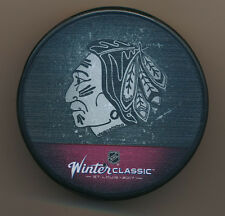 Chicago Blackhawks 2017 Winter Classic Hockey Puck NHL In Glas Co