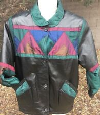Vintage 80s 90s Pelle Milano Brown Leather Jacket w/Shoulder Pads Women's Small