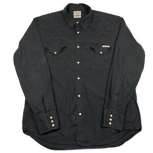 Lucky Brand Mens Large Black Pearl Snap Long Sleeve Shirt