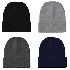 2 PACK Mens Plain Beanie Knit Ski Cap Skull Hat Warm Solid Color Winter Beany