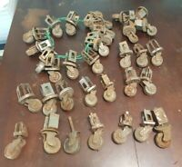 "Vintage ANTIQUE CASTERS Lot of 34 Metal WHEELS 1.5"" inch"