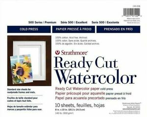 """Strathmore Ready Cut Watercolour Paper Pack 8""""X10""""-10 Sheets 140lb Art, Painting"""