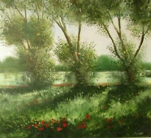 Landscape Painting Oil On Board Trees  River Nature Framed Signed Darry Nantais
