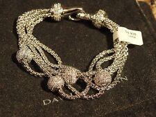 Sterling Silver 5 Strand Pave Crystal Balls Womens Bracelet Designer NEW .925