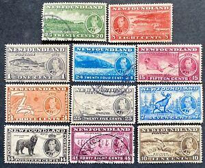 NEWFOUNDLAND GVI 1937 SG257/67 set 11 not all cheapest perfs f.u. Cat £50+