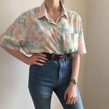 e68f61a75c618 Vintage Floral Button Down Blouse Top Tulips Made In USA Size 10 12