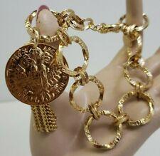 "Bellezza Diamond Cut & Shiny Circle Link Coin & Tassel Bracelet Bronze Italy 9"""
