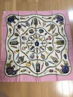 Auth QG3 HERMES Carre90 scarf 100%silk There perfume bottle pattern Pink xz126