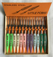 Miami Beach Little Fork Stainless Steel Cocktail or Hors D'oeuvre Forks Vintage