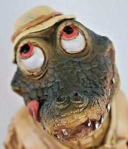 19cm standing comical crocodile figurine collectible home garden decor