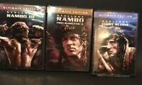 DVD Movie Set 3PC Ultimate Edition STALLONE First Blood, RAMBO II, & RAMBO III