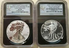 2013 W NGC ENHANCED SP70 & REV PF70 ER SILVER EAGLE TWO COIN WEST POINT MINT SET