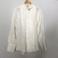 Brooks Brothers 16 1/2 - 4 White Tuxedo Shirt White Cotton Formal Pleat Bib