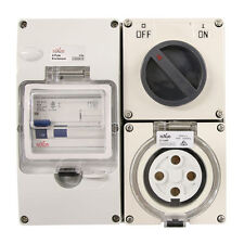 4 pin 32 Amp RCD Protected - Switched Socket Outlet RCD COMBO IP66 FREE SHIPPING