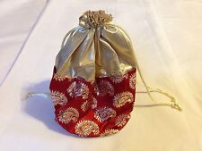 Red and Gold Sari Print Drawstring Purse/ Indian Wristet With Round Bottom