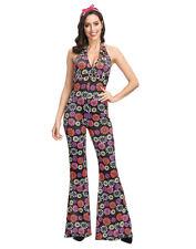 Ladies 60s 70s Costume Hippy Disco Diva Dancing Queen Fancy Dress Jumpsuit