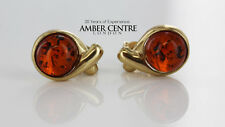 Italian Made Classic Baltic Amber Stud Earrings In 9ct Gold GS0088 RRP£160!!!