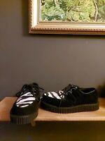 demonia creepers shoes black suede zebra fur thick soles rocker us 9,uk 6,eur 39