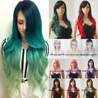 Green Ombre Wigs For Women Girls Costume Cosplay Wig Halloween Synthetic Hair US