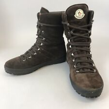 Rare Moncler Brown Leather Suede Ankle Unisex Lace Up Boots Size EU40 UK7