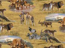 Elizabeth's Studio African Animals Zebra Elephant 100% cotton fabric by the yard