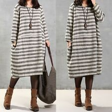 Women Autumn Oversize Casual Baggy Shirt Kaftan Loose Boho Long Maxi Dress Tops