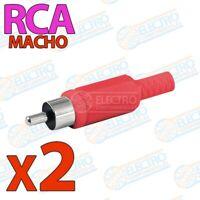 Conector aereo para audio o video RCA MACHO con carcasa - ROJO - Lote 2 unidades