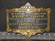 1897 Cast Iron Plaque Sign Detroit Heating & Lighting 30 Light Comb. Mixing Reg.