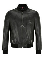 Men/'s Quilted Leather Jacket Black Classic Real Lambskin 70/'s Fashion Jacket UK