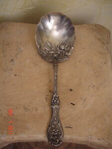 ANTIQUE WM ROGERS SILVERPLATE SXR SERVING SPOON ROSE PATD JAN 14 1903