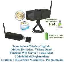 KIT WIRELESS VIDEOSORVEGLIANZA TELECAMERA A BATTERIA DVR REGISTRATORE USB PER PC