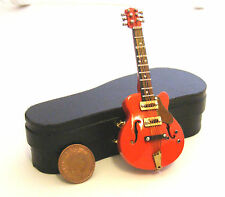 1:12 Scale Red Gibson Guitar In A Case Tumdee Dolls House Music Instrument 572