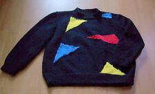 "Modern StyLish Hand Knit Black & Multicolors ""WINDOWS"" Pullover Sweater Size PL"