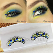 Blue Green Peacock Design False Eyelash Eye Lashes For Beauty Party Stage Makeup