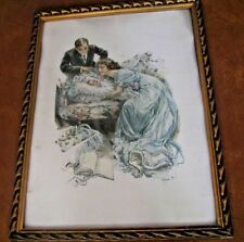 """Vintage Harrison Fisher Print Their New Love 11"""" by 15"""" Original Frame"""