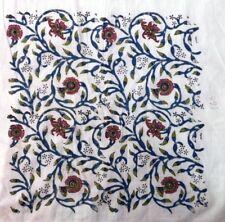 5 Yard Indian Blue Floral Hand Block Print Cotton Fabric Dressmaking Sewing Art