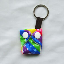 Rainbow Mini Tiny Cloth Diaper Keychain Snap Baby Shower Gift Christmas Ornament