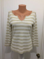 Chicos top shirt metallic gold ivory striped silk blend size 0