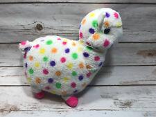 Kellytoy Sugar Loaf White Rainbow Polka Dott Llama Alpaca Plush Stuffed Animal