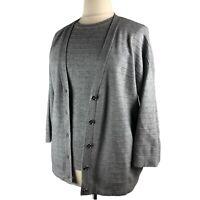Women XL 14/16 Michael Kors Sweater Cardigan Set Gray Dolman Sleeve Texture