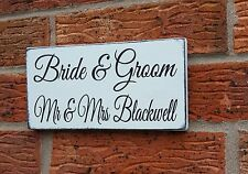 shabby vintage chic TOP TABLE sign bride and groom personalised wedding plaque