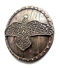 Viking Norse Raven Huginn Muninn Celtic Shield Bronze Sculpture Wall Mount Art
