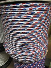 """3/8"""" X 100 Halyard sail line,anchor line polyester double braid, Red/White/Blue"""