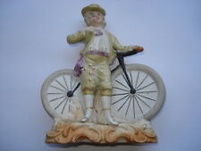 SCARCE C1880S VINTAGE MAN WITH BICYCLE BISQUE CHINA FIGURE