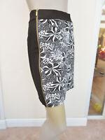 Tu - Womens Black Mix Floral Side Zip Detail Stretch Skirt - size 14